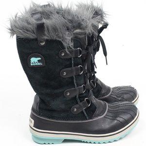 Sorel Joan of Arctic black suede gray fur boot